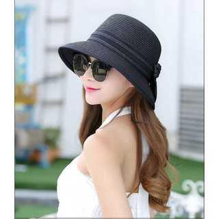 口コミ多数◆上品な麦わら帽子◆レディース◆ブラック(麦わら帽子/ストローハット)