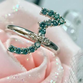 K18WG ブルーダイヤ 無色ダイヤ コンビ リング 18-5446(リング(指輪))