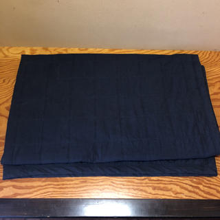 MUJI (無印良品) - 無印良品 中綿ラグ ネイビー 205×245
