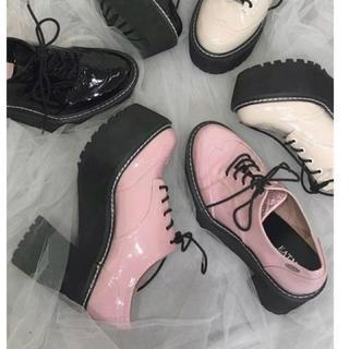 イートミー(EATME)の2019春夏新作♡EATME レースアップマニッシュシューズ♡ピンク(ローファー/革靴)