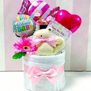 ●おむつケーキ 今治タオル・マスコットガラガラ 女の子 出産祝いに大人気!(その他)