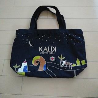 カルディ(KALDI)のKALDI トートバック 中古 黒 カルディ お弁当袋 ランチバック (弁当用品)