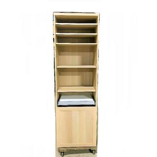 ●IKEA製 片開き 白木目 キッチンキャビネット レンジ台 新品同様美品(キッチン収納)