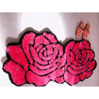 136×70 薔薇 マット 薔薇柄 玄関マット バラ カーペット(その他)