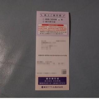 最新 東京テアトル 株主優待 映画ご招待券男性名義8枚+割引提示証 7/31迄(その他)