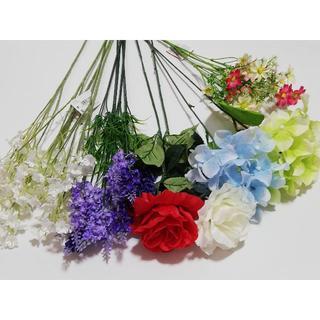 造花 まとめて 15本セット インテリア 薔薇 カスミソウ ラベンダー 紫陽花(花瓶)