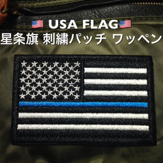 ◆USA FLAG◆星条旗 刺繍パッチ ワッペン ホワイトブラック ブルーライン(個人装備)