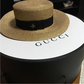 グッチ(Gucci)のGUCCI 人気 麦わら Bee Mサイズ(麦わら帽子/ストローハット)