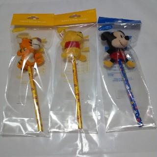 ディズニー(Disney)のディズニー えんぴつ マスコット付 3点(鉛筆)