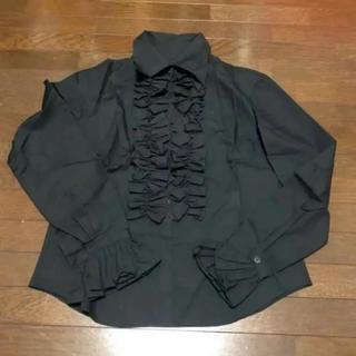 エイチナオト(h.naoto)の未使用 フリル シャツ 黒(シャツ/ブラウス(長袖/七分))