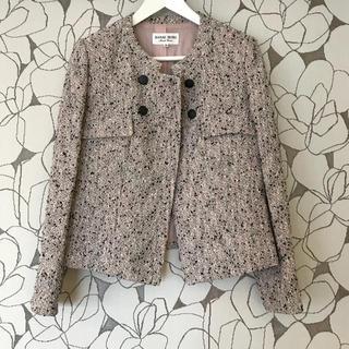ハナエモリ(HANAE MORI)のHANAE MORI ピンクブラックツイードジャケット 美品(ノーカラージャケット)