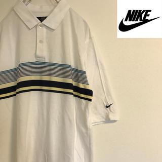 ナイキ(NIKE)の90s NIKE ナイキ 半袖 ポロシャツ ボーダー Lサイズ ビッグシルエット(ポロシャツ)