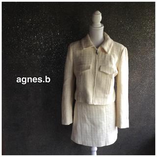 アニエスベー(agnes b.)のagnes.b☆ツイードスカートスーツ オフホワイト(スーツ)