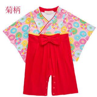 【大人気】袴 ロンパース ベビー 女の子 90cm(和服/着物)