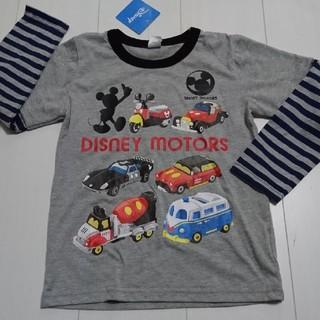 ディズニー(Disney)の新品タグ付きミッキーマウスDISNEY MOTORS重ね着風ロングTシャツ120(Tシャツ/カットソー)