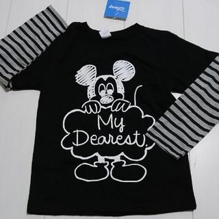 ディズニー(Disney)の新品タグ付きミッキーマウス重ね着風ロングTシャツ120センチロンT(Tシャツ/カットソー)
