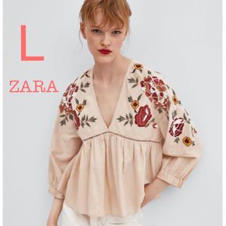 ZARA - ZARA 新品未使用 フラワー 刺繍 フリル Vネック ピンク ブラウス L