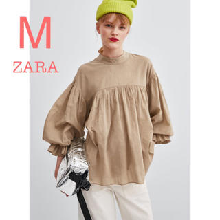 ZARA - 新品未使用 ZARA ボリュームスリーブ ライトキャメル ブラウス M
