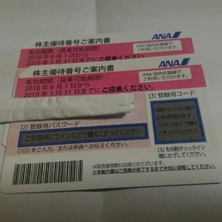 エーエヌエー(ゼンニッポンクウユ)(ANA(全日本空輸))のANA 株主優待券   2枚 搭乗期間 2019年5月31日まで(航空券)