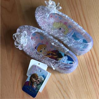 ディズニー(Disney)の新品☆アナ雪 ラメクリアサンダル ラバーシューズ 14cm シンデレラ靴(サンダル)