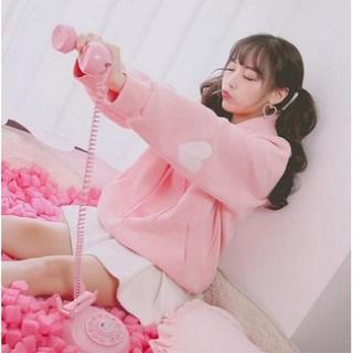 ダズリン(dazzlin)のハート パーカー 起毛 裏ボア プルオーバー スウェット ピンク ♡♥(パーカー)