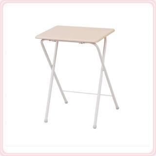 ミニ折りたたみ式サイドテーブル ハイタイプ ナチュラルメイプル/アイボリー♪(折たたみテーブル)