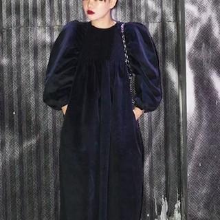 ザラ(ZARA)のcorduroy volume pattern dress.(ロングワンピース/マキシワンピース)