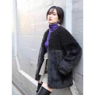 ムルーア(MURUA)のMURUA ファーコート 黒(毛皮/ファーコート)