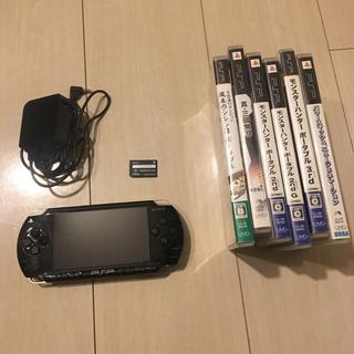 プレイステーションポータブル(PlayStation Portable)のpsp本体+ソフト6本セット+メモリースティック32MB+アダプター☆動作確認済(携帯用ゲーム本体)