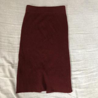 GU - スカート ニットスカート リブニット リブニットスカート GU