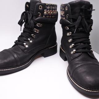 シャネル(CHANEL)のシャネル メンズ ブーツ 41 美品 中古 ブラック ツイード シューズ (ブーツ)