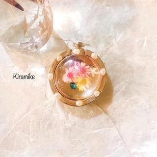 ピンクとイエローの小花とパールのゴールドカラーのスマホリング★(iPhoneケース)