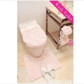 レディー(Rady)の新品✨Rady 【ウォシュレット】ビジューキルティングトイレ3点セット・ピンク(トイレマット)