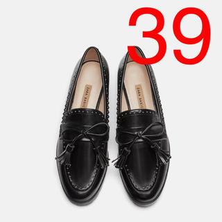 ザラ(ZARA)のZARA  スタッズ付きローファー フラットシューズ(ローファー/革靴)