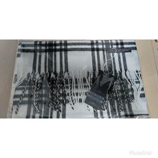 テットオム(TETE HOMME)のマフラー チェック柄 フリンジ ロング【白×黒】(マフラー)