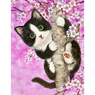 桜の木に上る可愛いハチワレ猫(A4額縁付きフルセット) ダイヤモンドアート(その他)
