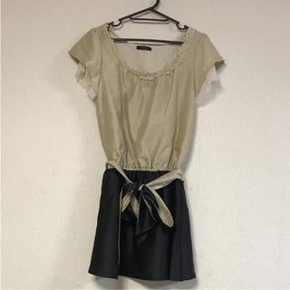 クリア(clear)のclear☆胸元装飾・袖シフォンデザインワンピース(ひざ丈ワンピース)