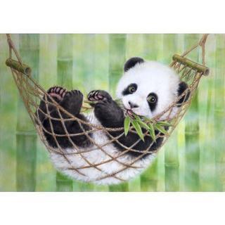 竹にハンモックのパンダ(A4額縁付きフルセット) ダイヤモンドアート(その他)
