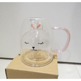 スターバックスコーヒー(Starbucks Coffee)のスターバックス うさぎ🐰 ダブルウォールグラスマグカップ(グラス/カップ)