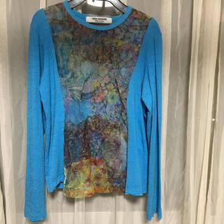 ジュンヤワタナベコムデギャルソン(JUNYA WATANABE COMME des GARCONS)の美品!コムデギャルソン ジュンヤ ワタナベ  プリントシフォン×ウールカットソー(Tシャツ(長袖/七分))