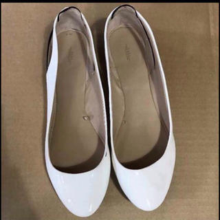 ZARA - ZARA 靴 フラットシューズ ホワイト 異素材 オープンヒール バックオープン