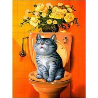 トイレに飾ろう!ネコトイレ(orange)(A4額縁付きフルセット) ダイヤモン(その他)