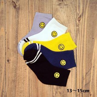 ニコチャンマークサイド刺繍(13~15cm) 5足組 NKM08-S キッズ靴下