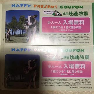 【即決OK】成田 ゆめ牧場 小学生迄 入園券 2枚 ¥1400相当 送料無料(動物園)