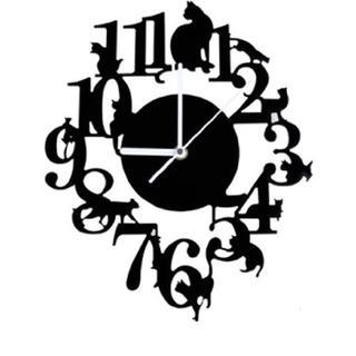 新品未使用★黒猫 掛け時計  アンティーク 22(掛時計/柱時計)