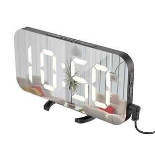 送料無料★置き時計ミラー  USB電源ポート付き 23(掛時計/柱時計)
