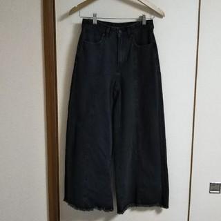 ジーユー(GU)のGU 裾フリンジワイドデニム(デニム/ジーンズ)
