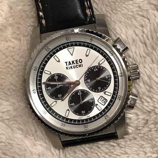 タケオキクチ(TAKEO KIKUCHI)のタケオキクチ メンズクロノグラフ 腕時計 革ベルト 動いてます!(腕時計(アナログ))