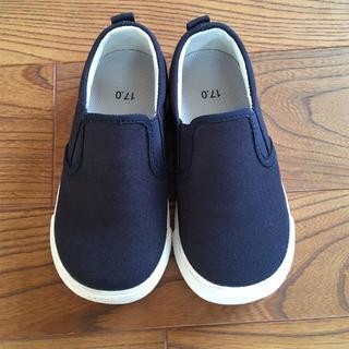 MUJI (無印良品) - 無印良品スリッポン子ども用17㎝ネイビー 子ども靴 スニーカー