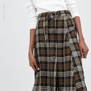 ザラ(ZARA)のZARA ベルト付きチェック柄スカート ロングスカート  フレアスカート (ロングスカート)